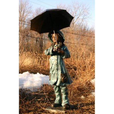 Dívka pod deštníkem - Záhradní drěvěná socha
