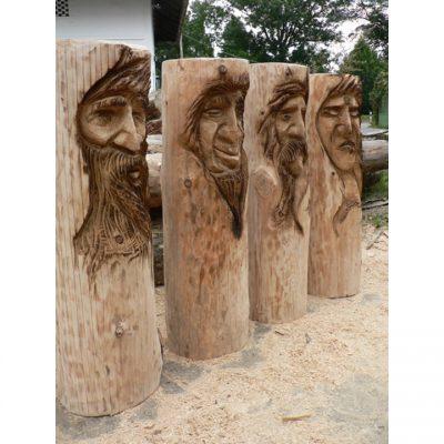 Zahradní dřevěné sochy - Čtyři dřevěné tváře