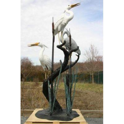 Tři volavky na stromě - Záhradní bronzová socha