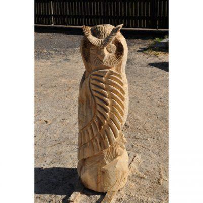 Zahradní dřevěná socha - Dřevěná sovice na pařezu