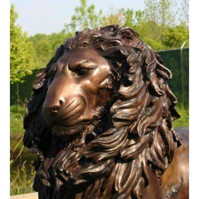 Záhradní bronzová socha - Bronzový pár vznešených levov