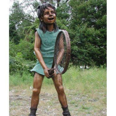 Záhradní bronzová socha - Dívka hrajíci tenis