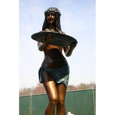 Zahradní bronzová socha - Havajská dívka s tácem