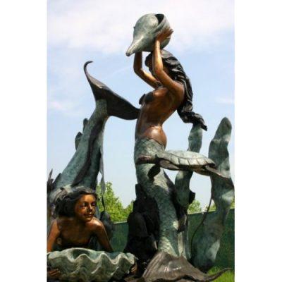 Záhradní bronzová socha - Mořské víly a fontána