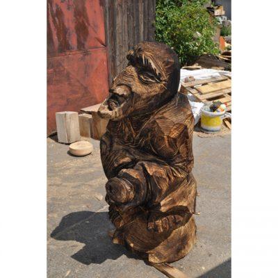 Zahradní dřevěná socha - Dřevěná čarodějnice na koštěti