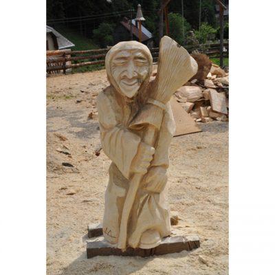 Zahradní dřevěná socha - Dřevěná ježibaba