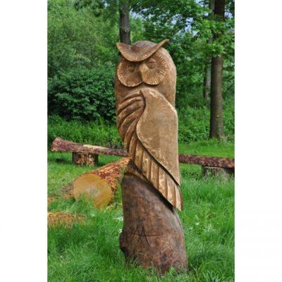 Zahradní dřevěná socha - Dřevěná sova II