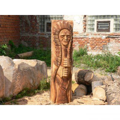 Zahradní dřevěná socha - Dřevěný Indián