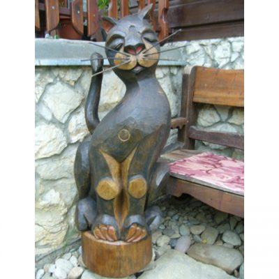 Zahradní dřevěná socha - Dřevěný kocour