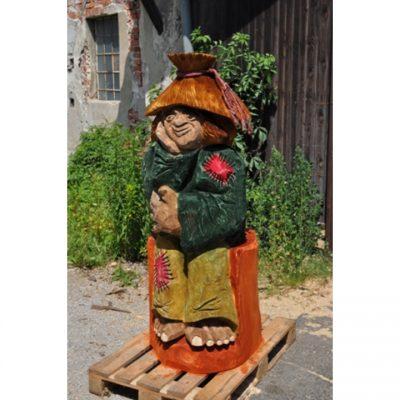 Zahradní dřevěná socha - Barevný vodník II