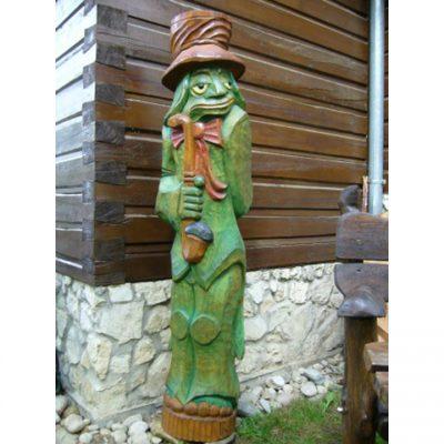 Zahradní dřevěná socha - Vodník s dýmkou