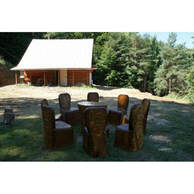 zahradní srubový nábytek - Lesní dřevěné posezení